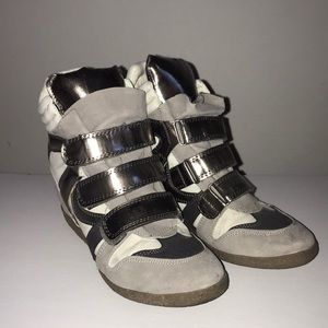 Metallic Grey and White Sneaker Wedges